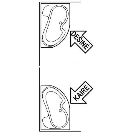 Akrilinė asimetriška vonia Ravak Rosa I, 160x105 cm, kairinė