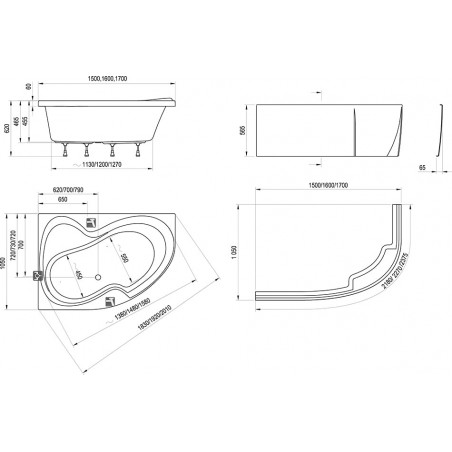 Akrilinė asimetriška vonia Ravak Rosa II, 150x105 cm, dešininė