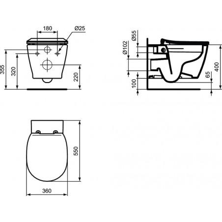 WC pakabinamas Ideal Standard Connect, Rimless, su matomais tvirtinimais