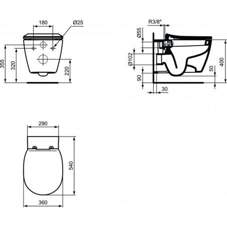 WC pakabinamas Ideal Standard Connect, su bide funkcija ir paslėptais tvirtinimais