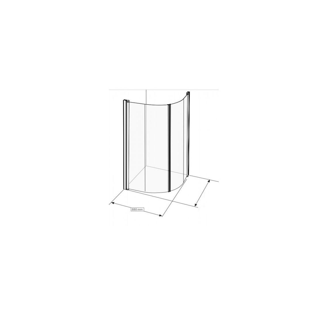 Lenkta dušo dienelė Ifo Space 2000, 90 cm, skaidrus stiklas