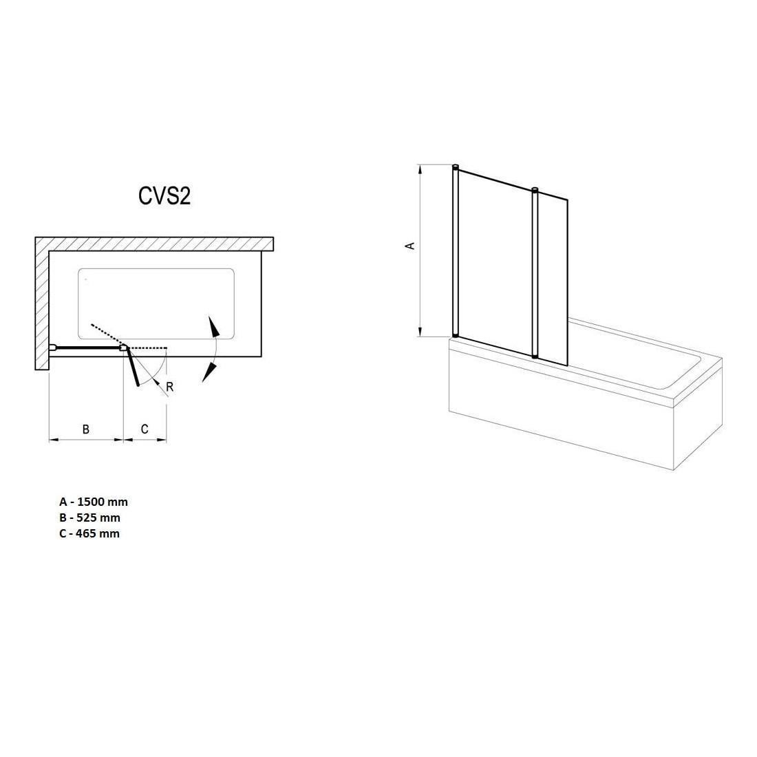 Vonios sienelė Ravak Chrome CVS2 100, dešinė, blizgus profilis