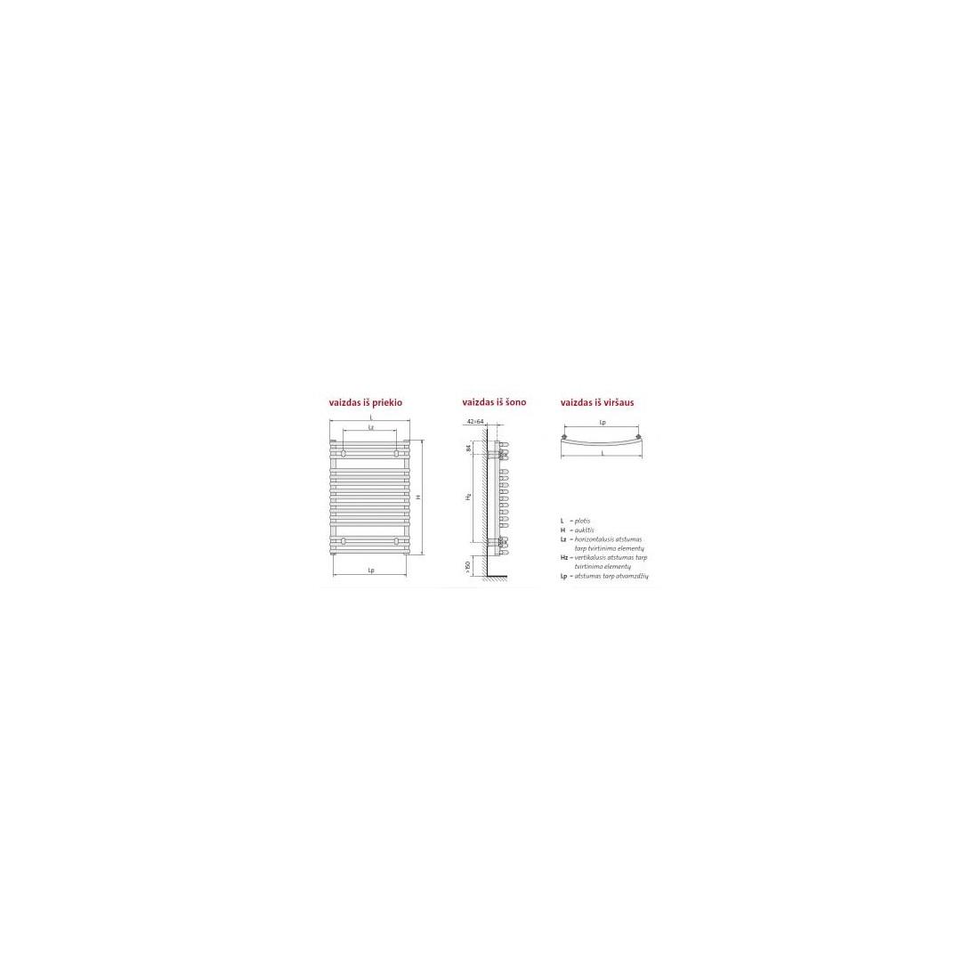 Rankšluosčių džiovintuvas PURMO SANTORINI C , 742-1470 1035 W
