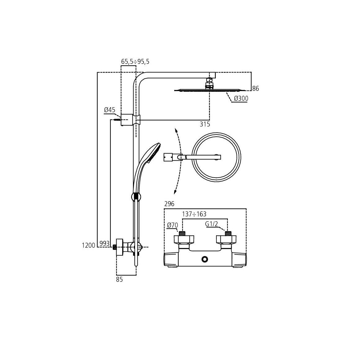 Stacionari dušo sistema Ideal Standard, IdealRain Lux, su termostatiniu maišytuvu