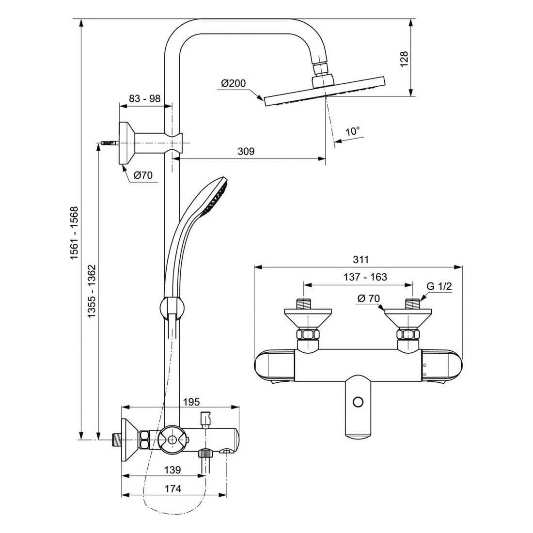 Stacionari dušo sistema Ideal Standard, Ceratherm 25, su termostatiniu vonios maišytuvu