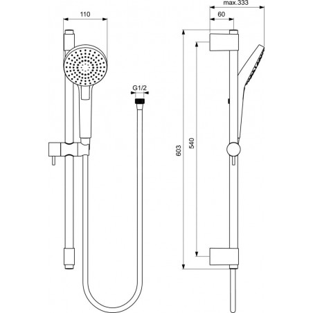 Dušo stovas Ideal Standard IdealRain, Evo, 600 mm, galvutė 110 mm