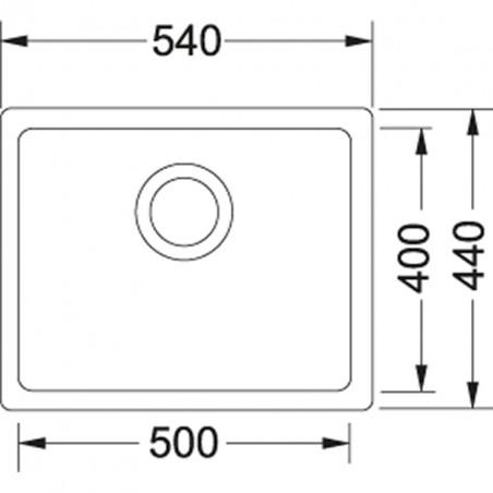 Akmens masės plautuvė Franke Kubus KBG 110-50, ekscentrinis ventilis, Umbra