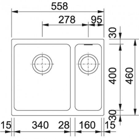 Akmens masės plautuvė Franke Kubus KBG 160, ekscentrinis ventilis, Sachara