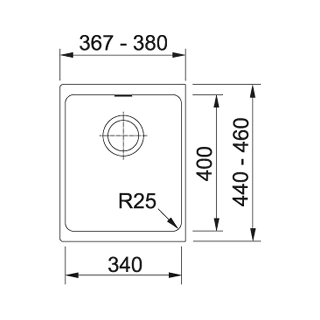 Akmens masės plautuvė Franke Kubus KBG 110-34, ekscentrinis ventilis, Graphit