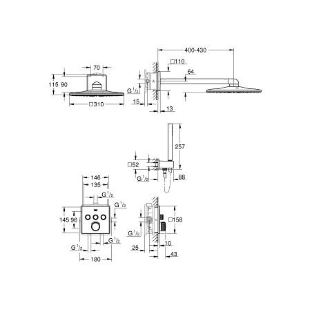 Potinkinė termostatinė dušo sistema Rainshower 310 Smart Active Cube 2-jų srovių centrinis dušas, chromas