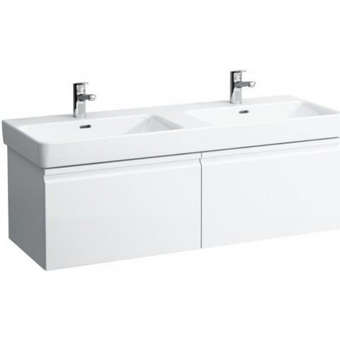 PRO S spintelė 1260x450x390 mm su dviem stalčiais, dviem vidiniais stalčiukais praustuvui 8.1396.8, balta blizgi
