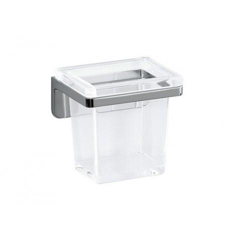 Lb3 Laikiklis stiklinėlei su krištoline stiklinėle, sieninis, chromuotas