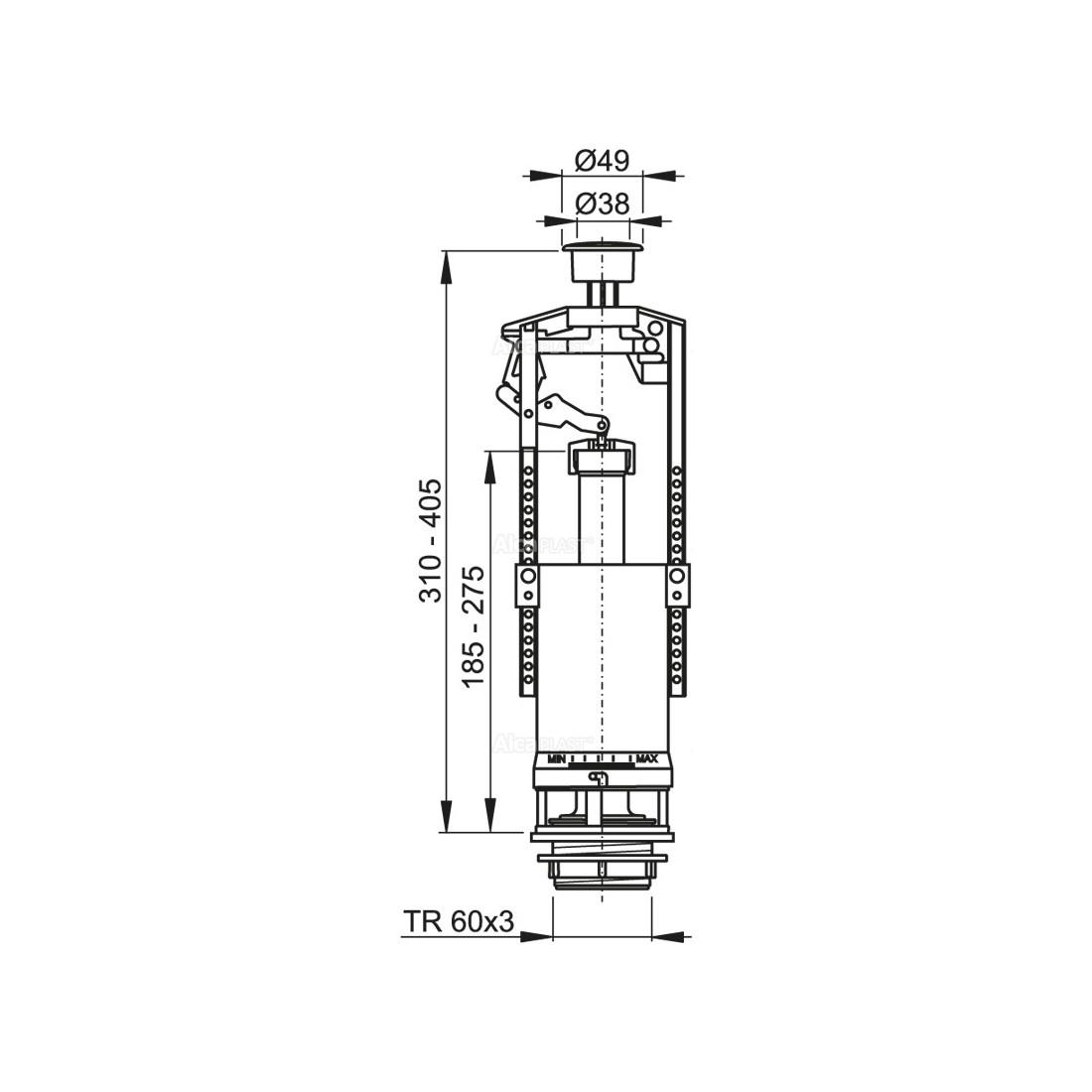 WC nuleidimo mechanizmas, A2000 START / STOP. unitazų bakeliams