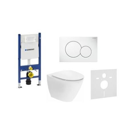 WC rėmo komplektas Geberit, Duofix Sigma, su Ifo Inspira Art Rimfree, soft close dangčiu ir baltu klavišu