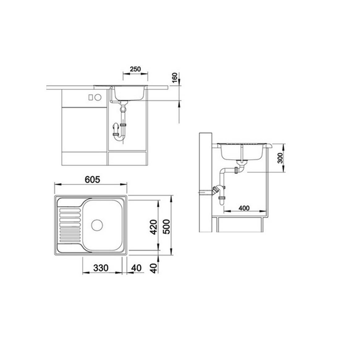 Plautuvė BLANCOTIPO 45S Mini, 605x500, plieninė, linijinis paviršius