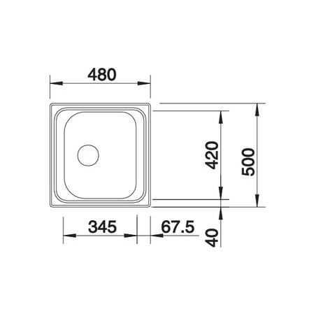 Plautuvė BLANCOTIPO 45, nerūdijantis plienas, 48x50 cm