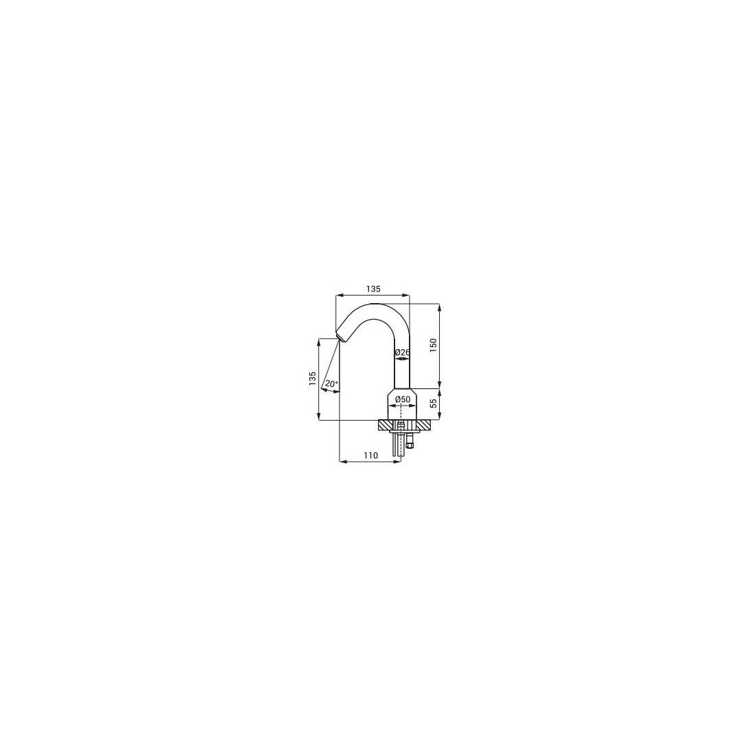 Sensorinis praustuvo maišytuvas SLU 08, 24V DC, chromas