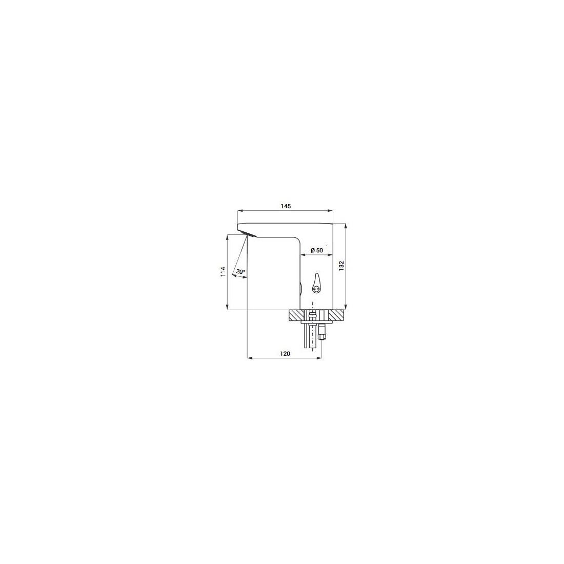 Praustuvo maišytuvas Sanela SLU 54 su integruota elektronika, 24 V DC