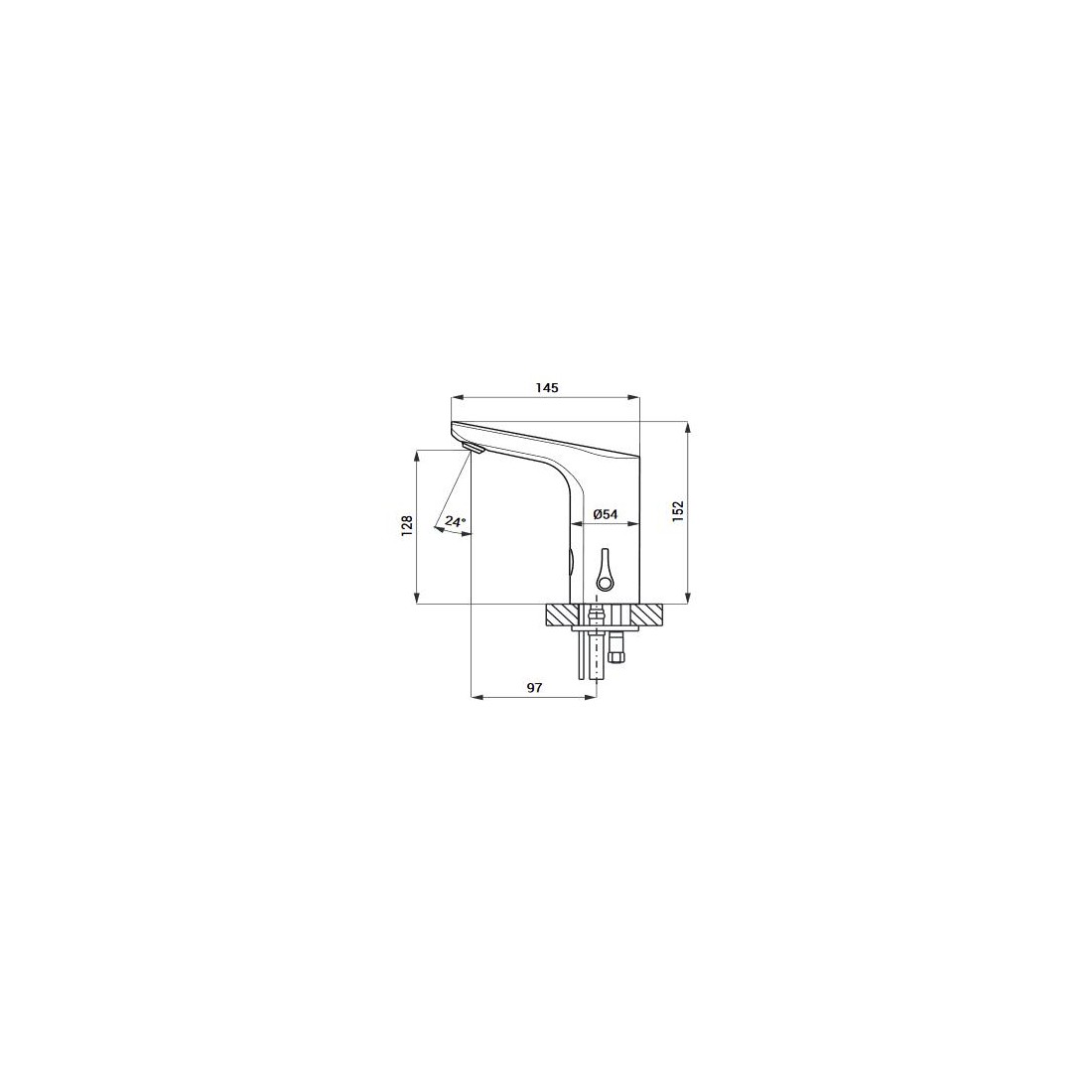 Praustuvo maišytuvas Sanela SLU 76 su integruota elektronika, 24 V DC