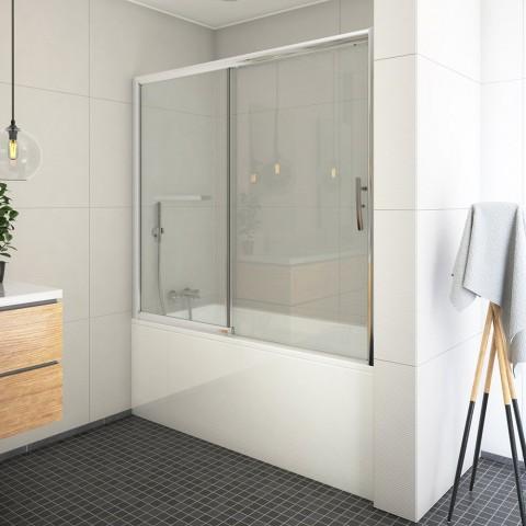 Stumdoma vonios sienelė PXV2L 1500/1500, stiklas skaidrus, profilis blizgus