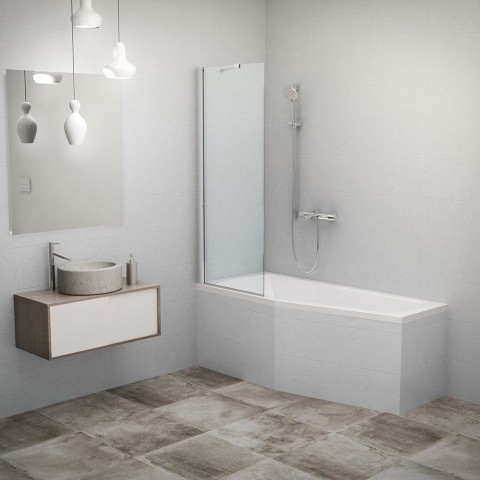 Stacionari vonios sienelė PXV1 750/1500, profilis blizgus, stiklas skaidrus