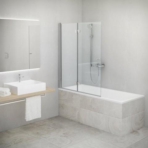 Vonios sienelė TZVL2 1200/1400, stiklas skaidrus, kairės pusės