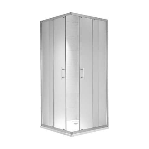 CUBITO pure Dušo kabina kvadratinė 90 x 90 x 195 cm,  2 stumdomos durys, arktinis stiklas, sidabrinis profilis