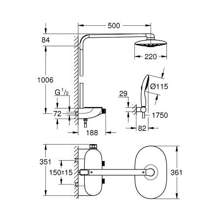 Termostatinė dušo sistema Rainshower® System SmartControl 360 DUO