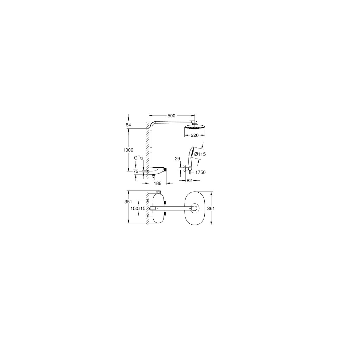 Termostatinė dušo sistema Rainshower® System SmartControl 360 DUO, balta spalva