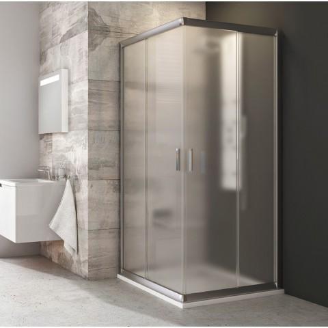 Kvadratinė dušo kabina Ravak Blix, BLRV2-90, satinas+stiklas Grape