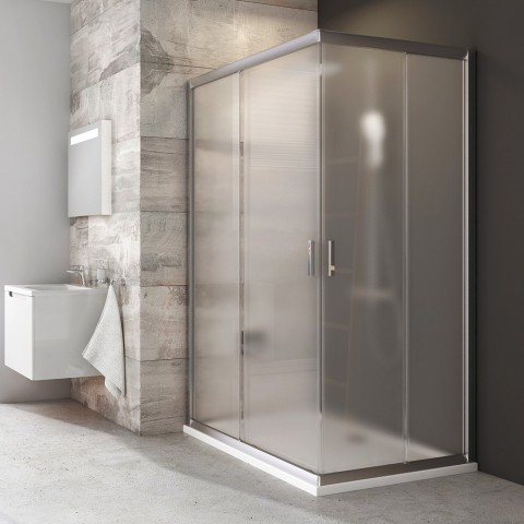 Stačiakampės dušo kabinos sienelė Ravak Blix, BLRV2K-90, satinas+stiklas Grape