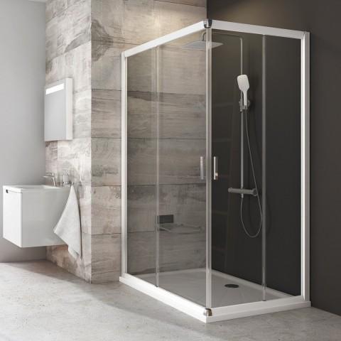 Stačiakampės dušo kabinos sienelė Ravak Blix, BLRV2K-100, balta+stiklas Transparent