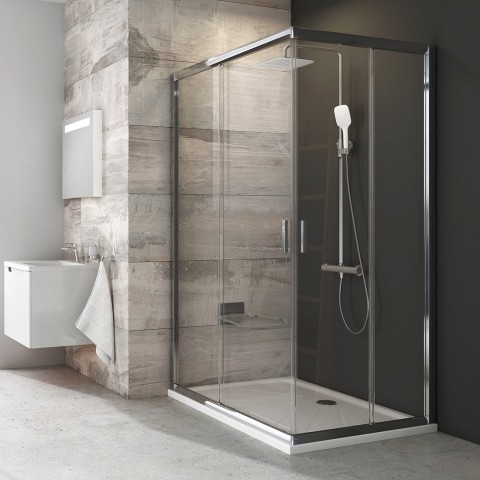 Stačiakampės dušo kabinos sienelė Ravak Blix, BLRV2K-100, blizgi+stiklas Transparent