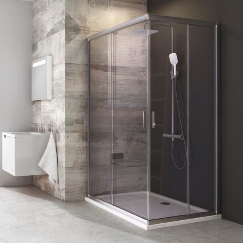 Stačiakampės dušo kabinos sienelė Ravak Blix, BLRV2K-110, satinas+stiklas Transparent