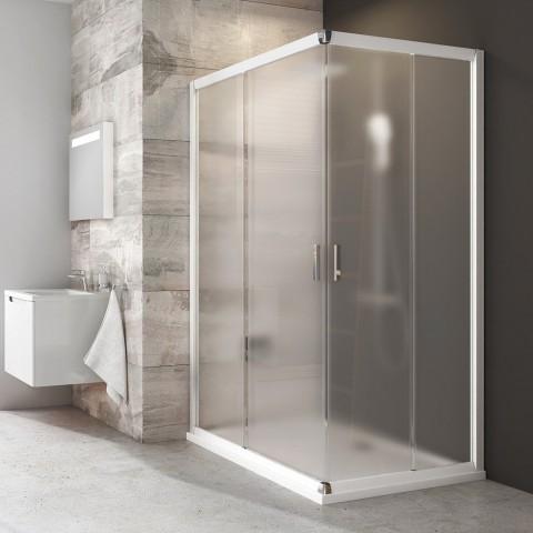 Stačiakampės dušo kabinos sienelė Ravak Blix, BLRV2K-120, balta+stiklas Grape