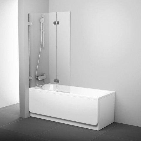 Vonios sienelė Ravak Brilliant, BVS2 100 L chromas+stiklas Transparent