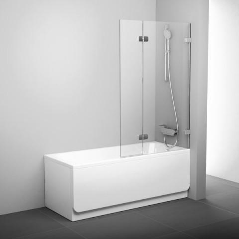 Vonios sienelė Ravak Brilliant, BVS2 100 R chromas+stiklas Transparent