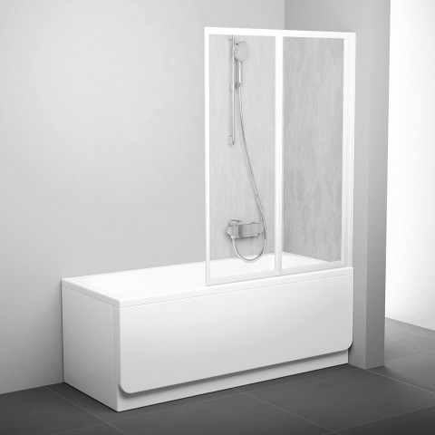 Sulankstoma vonios sienelė Ravak, VS2 105, balta+plastikas Rain