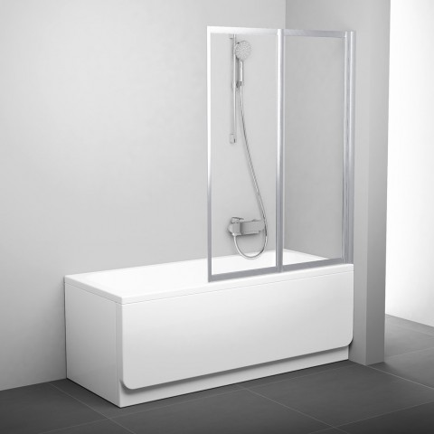 Sulankstoma vonios sienelė Ravak, VS2 105, satinas+stiklas Transparent