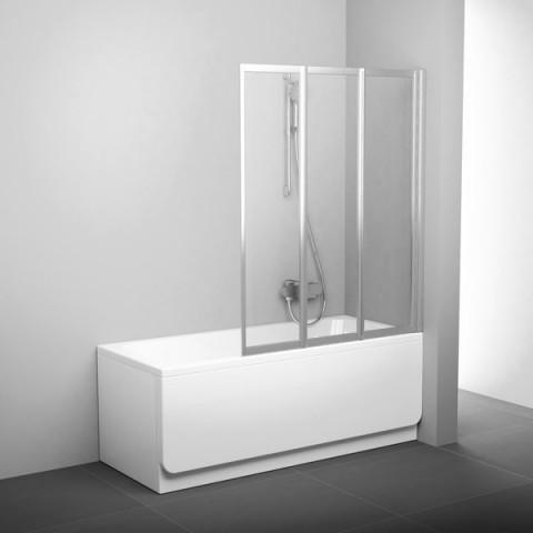 Sulankstoma vonios sienelė Ravak, VS3 130, satinas+stiklas Transparent