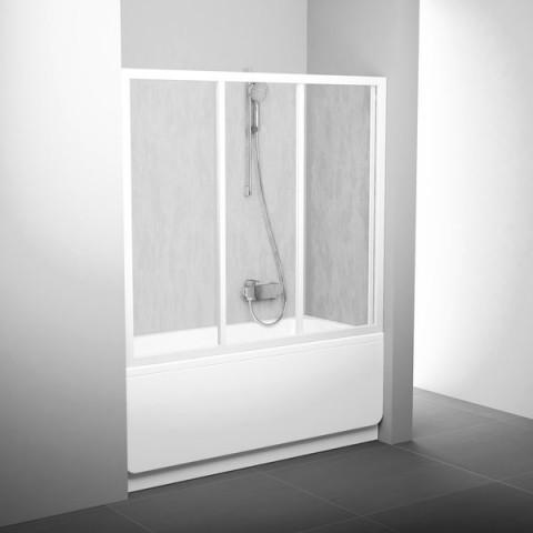 Stumdomos vonios durys Ravak, AVDP3-160, balta+stiklas Grape