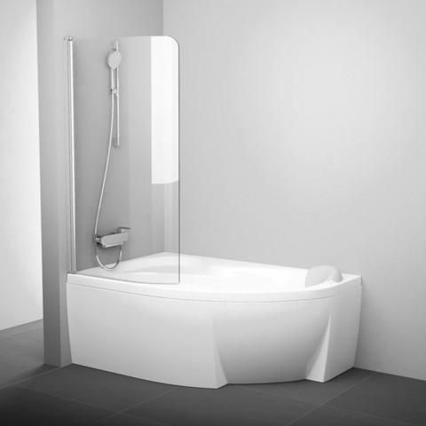 Vonios sienelė Ravak Rosa, CVSK1 140/150, L satinas+stiklas Transparent