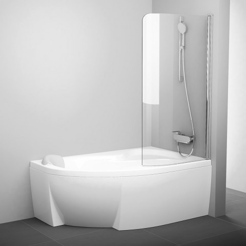 Vonios sienelė Ravak Rosa, CVSK1 160/170, R blizgi+stiklas Transparent