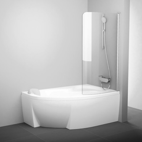 Vonios sienelė Ravak Rosa, CVSK1 160/170, R satinas+stiklas Transparent