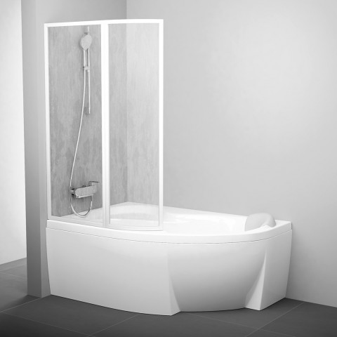 Vonios sienelė Ravak Rosa, VSK2 140, L balta+plastikas Rain