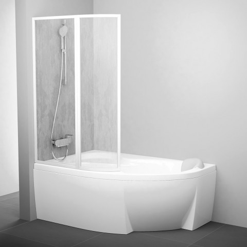 Vonios sienelė Ravak Rosa, VSK2 160, L balta+plastikas Rain