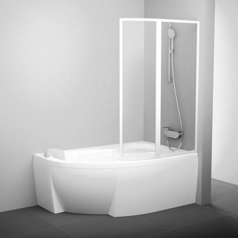 Vonios sienelė Ravak Rosa, VSK2 160, R balta+stiklas Transparent