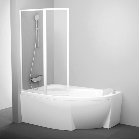 Vonios sienelė Ravak Rosa, VSK2 170, L balta+stiklas Transparent