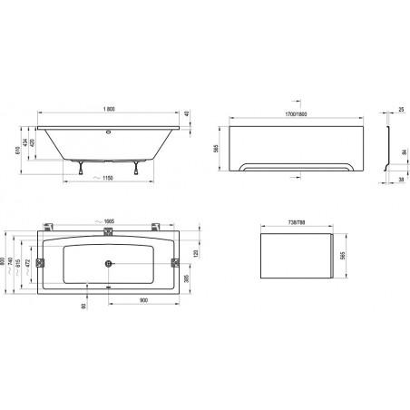 Akrilinė vonia Ravak Formy 02, 180x80