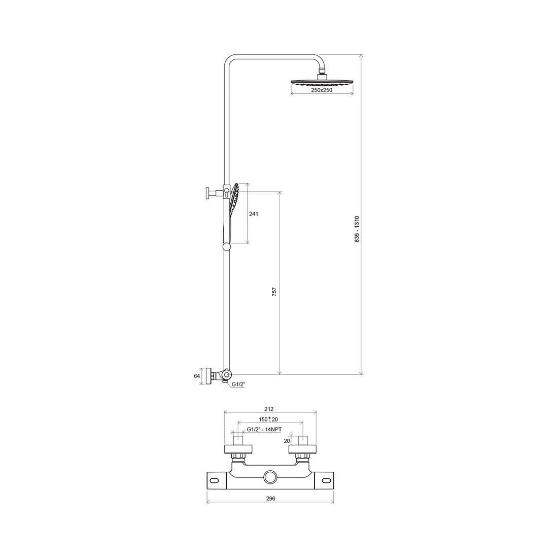 Stacionari dušo sistema Ravak Termo 300, TE 093.00/150, su termostatiniu dušo maišytuvu